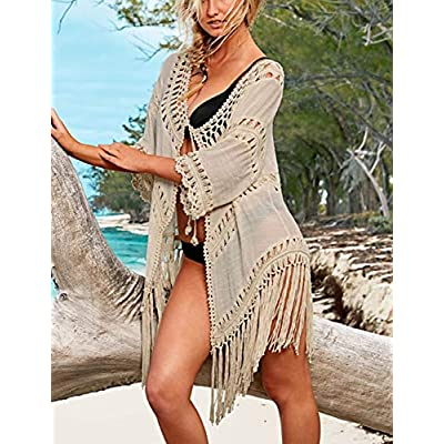 Bsubseach Beach Swimsuit Cover Ups for Swimwear Women Tassel Hollow Out Open Front Kimono Cardigan at Women's Clothing store
