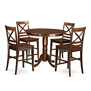 East West Furniture TRQU5 MAH W 5 Piece Counter Height Pub Table
