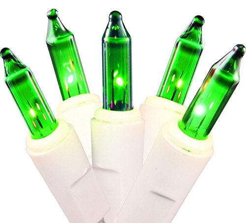 [Northlight Mini Christmas Lights with White Wire, Green, Set of 100] (White Green Wire)