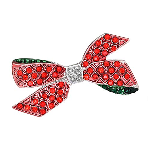 Seni Jewelry Christmas Brooch Pins Crystal Rhinestone Brooch with Tree Wreaths Bow Snowflake Wedding Xmas Jewelry (Bow) ()