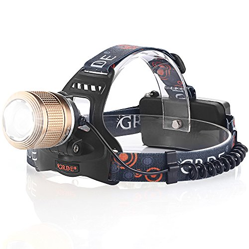[LED Headlamp, Ultra-Bright 2000 Lumens Rain proof Headlight 3 Modes Head Torch Spotlight Floodlight Flashlight with 2pcs Rechargeable 18650 Batteries for Camping Biking Working Hunting (Brown)] (Led Aluminum Torch)