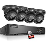 ANNKE 8CH 1080N Security Camera System with 1TB Hard Drive and (4) 720P Night Vision Surveillance Cameras, IP66 Weatherproof , P2P Technology/E-Cloud Service, QR Code Scan Remote Access
