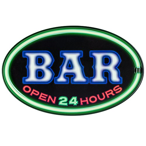 Bar Open 24 Hours - Reproduction Advertising Oval Sign - Battery Powered LED Neon Style Light - 16 x 11 x 2 - Sign Authentic Neon