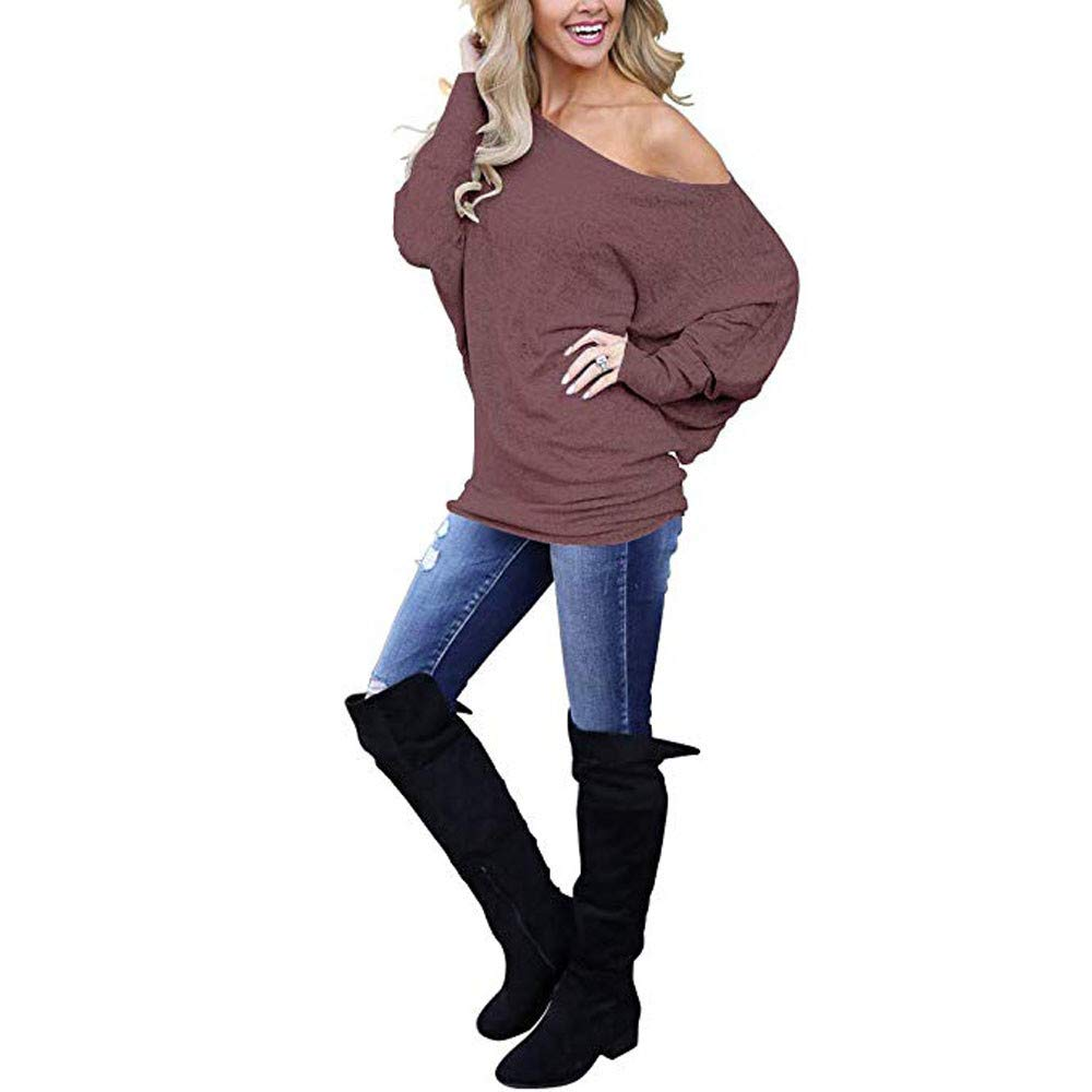 Amazon.com: YKARITIANNA New Women Off Shoulder Loose Pullover Sweater Batwing Sleeve Knit Jumper Top Blouse: Arts, Crafts & Sewing