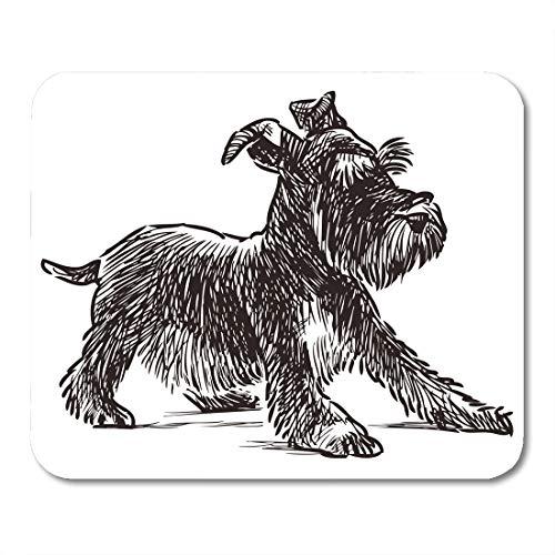 Emvency Mouse Pads Dog Schnauzer Puppy Drawing Silhouette Animal Beard Black Mousepad 9.5