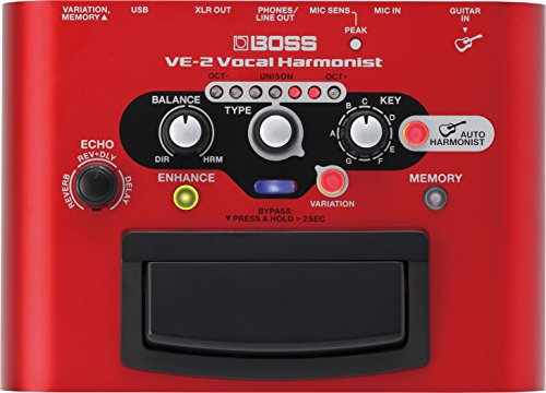 BOSS VE-2 Vocal Harmonist Pedal Bundle with Blucoil Slim 9V Power Supply AC Adapter, 10-Ft Balanced XLR Cable, and 4 AA Batteries by blucoil (Image #1)