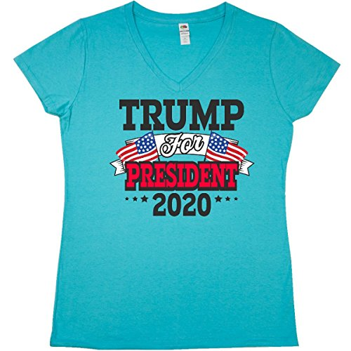 inktastic Trump For President Junior V-Neck T-Shirt Large Scuba Blue (Vote Womens Cap Sleeve T-shirt)