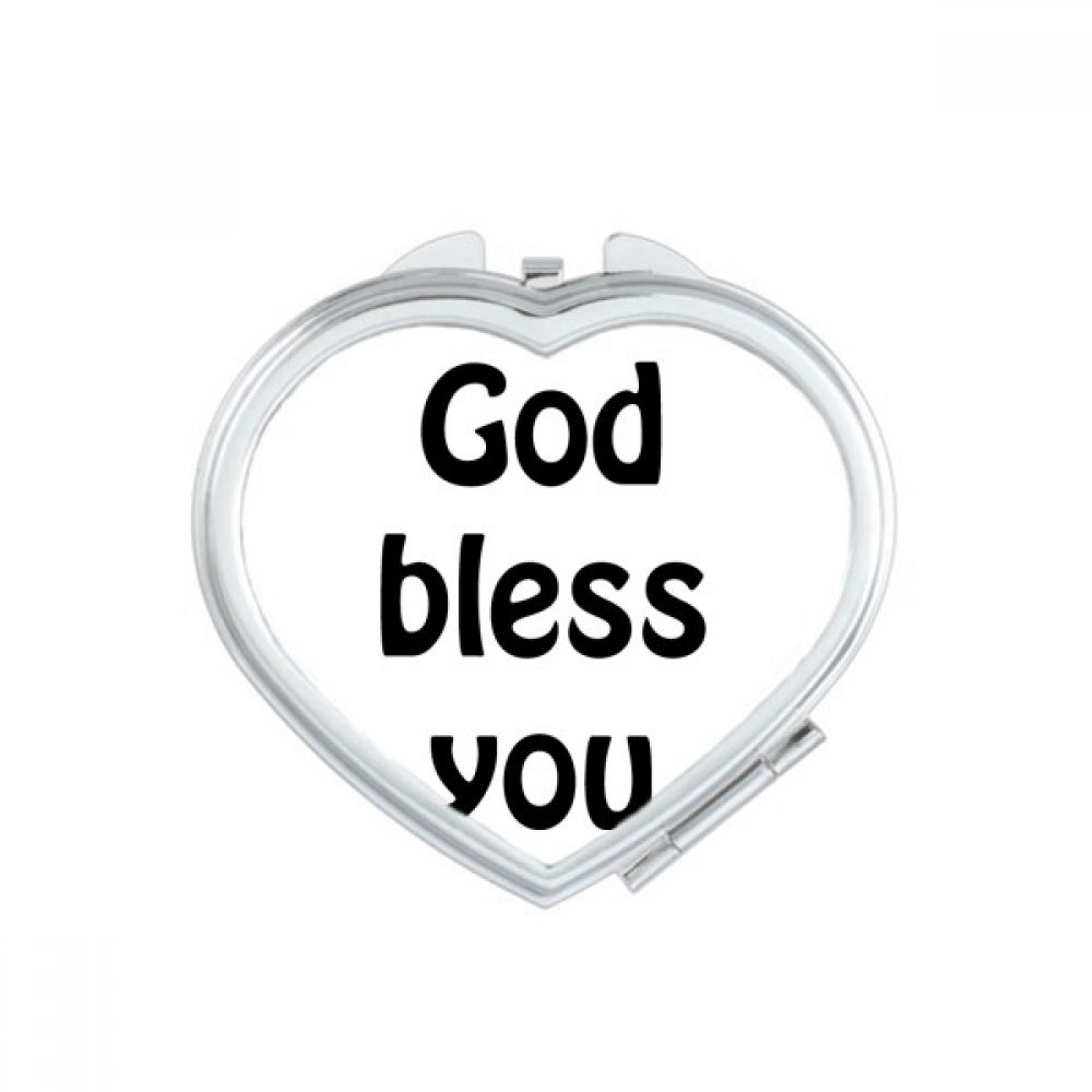 God Bless You Christian Quotes Heart Compact Makeup Mirror Portable Cute Hand Pocket Mirrors Gift