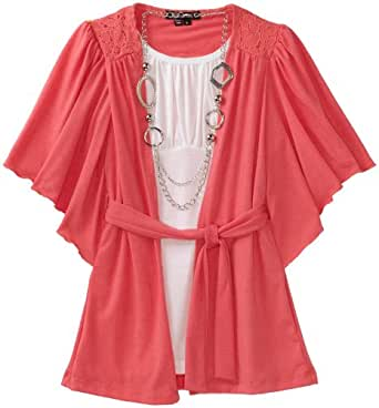 My Michelle Big Girls' Butterfly Sleeve 2 Piece Top, Coral, Medium