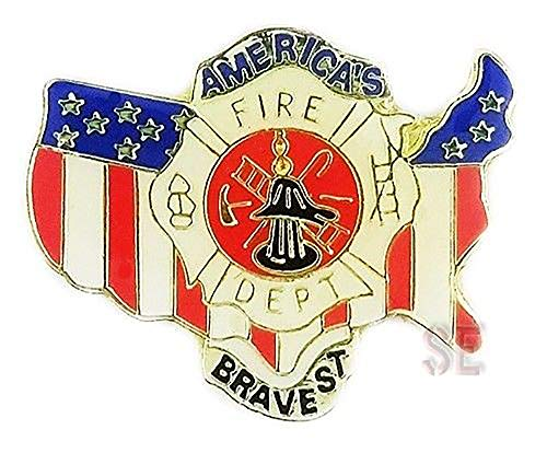 Firefighter Fire Rescue Lapel Pin America's Bravest United States Map Flag