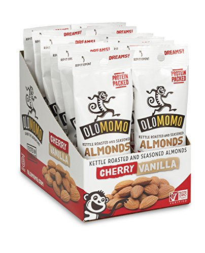 OLOMOMO Cherry Vanilla Candied Almonds: Protein-packed, Gluten Free, Organic Ingredients, Vegan, Non-GMO, Healthy Snack packs, 12 pack; 1.25 oz bags