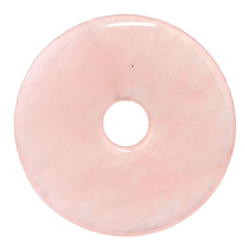 50mm Gemstone Crystals Agate Jasper Reiki Healing Chakra Donut Pendant Bead DIY Jewelry Accressory Necklace Kit (Pink Quartz) Baixiyan