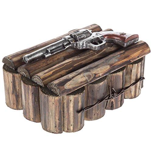 Western Pistol Trinket Box Resin Pistol Wood Log Box Gun Jewelry Box Table Display Country Farmhouse