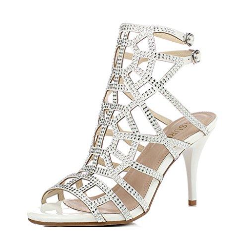 5 UK5 Banquet Grandes 38 Blanc 240mm shoes female Single Ouvert Femmes D'automne Évidées Sandales Sexy Sandales des Hauts US6 Couleur Talons Or et Taille d'été 5 à 7ZSq1