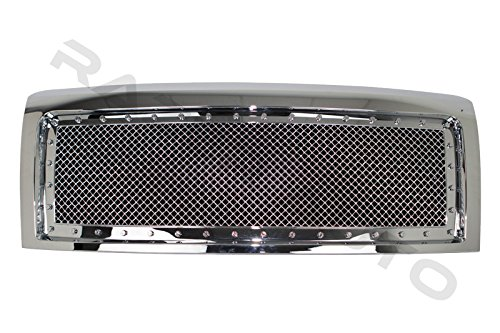 Razer Auto Triple Chrome Plated Rivet Studded Frame Mesh Grille Complete Factory Replacement Grille Shell for 09-14 Ford F150 ()
