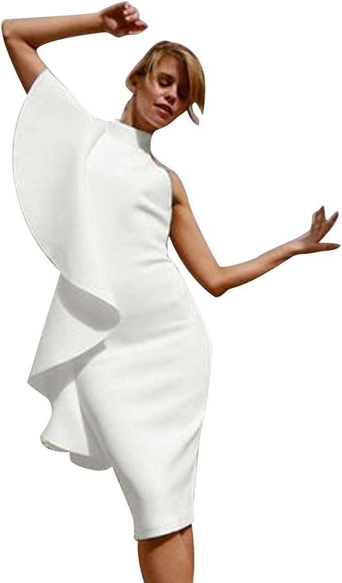 Wanyangg Damen Halter Eine Schulter Armellos Spitze Ruckenfrei Bodycon Kleid Midi Partykleider Frauen Kleider Sommer Abendkleider Weiss Xl Amazon De Bekleidung