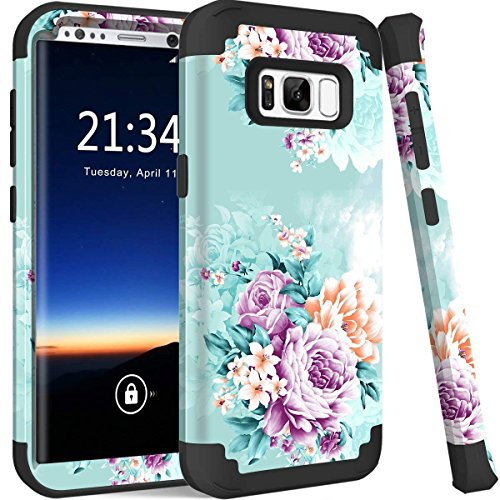 Galaxy S8 Plus case, PIXIU Three Layer Heavy Duty Hybrid Sturdy Armor Shockproof Protective Phone Cover Case for Samsung Galaxy s8 Plus 2017 Release(Peonies)