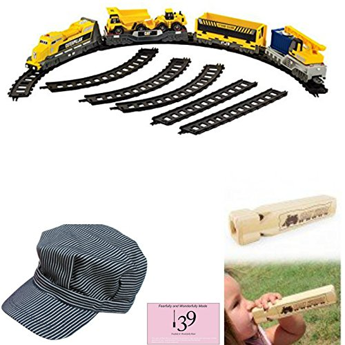 fearfullymade Yellow Work Supreme Motorized Train Set with Engineers Hat and Handmade Whistle Great for Girls or - Cat Playset Bridge Builder