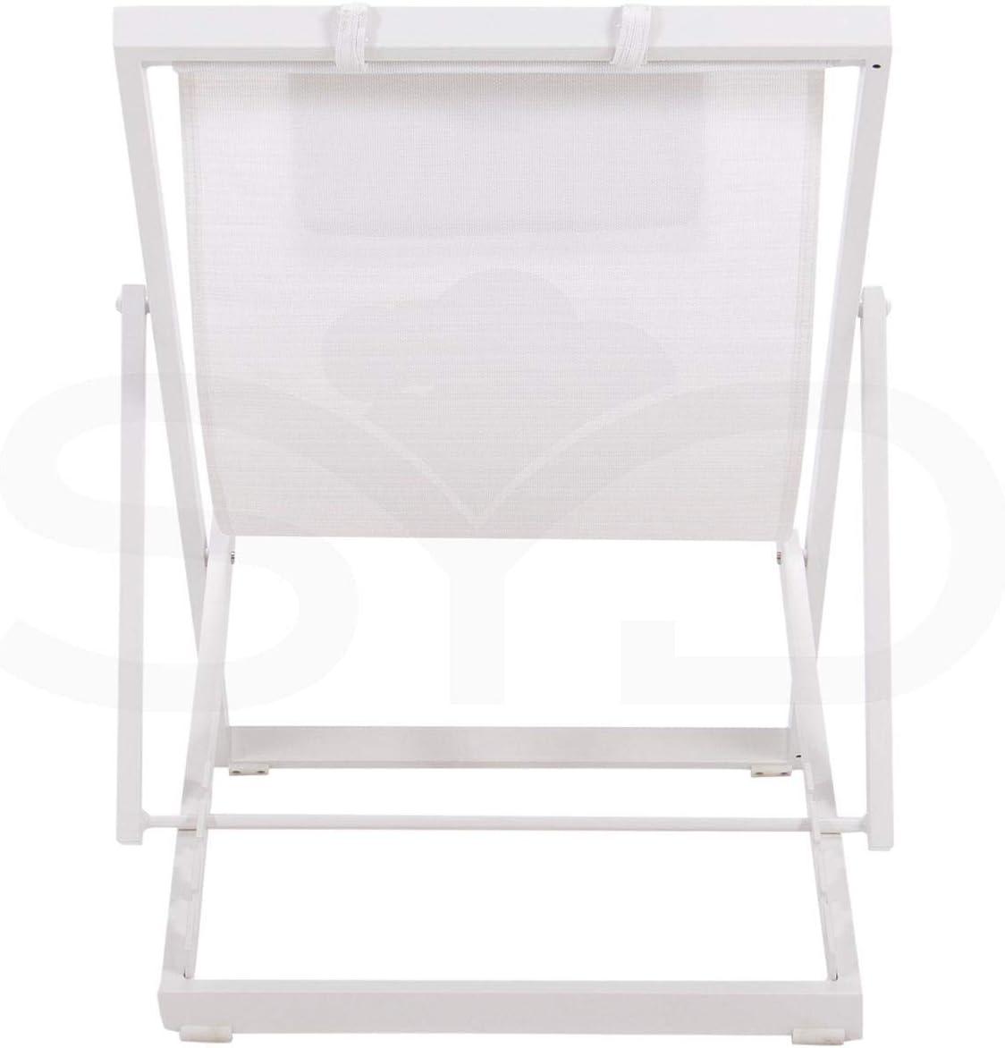 Tumbona Plegable de Aluminio Blanco 1/ª Calidad y Textilene Batyline Arce