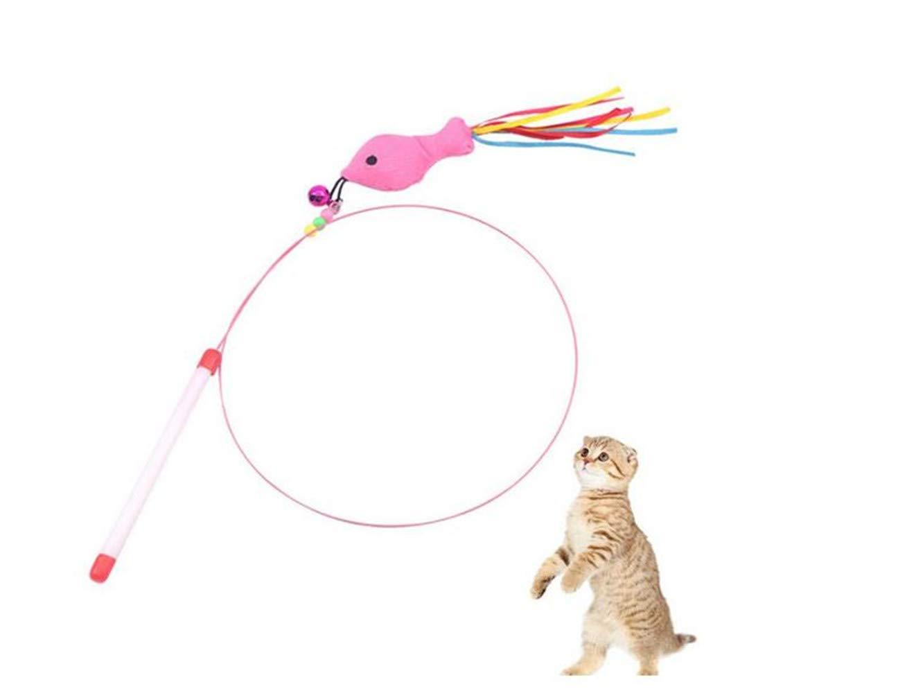 DTOL Kitten Cat Interactive Toy Fishing Rod Kitten Cat Teasing Interactive Toy Fishing Rod Fish Belt Bell Pet Supplies Pet Toys