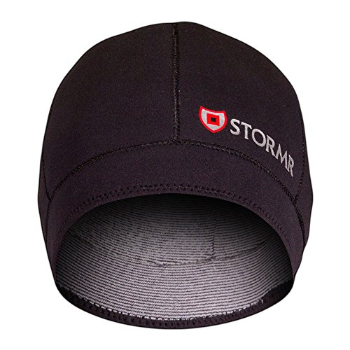 Stormr Typhoon Men's and Women's Waterproof, Windproof 2 MM Premium Micro-Fleece Lined Neoprene Beanie Ideal for Fishing, Hunting, Winter, Skiing - Black, L