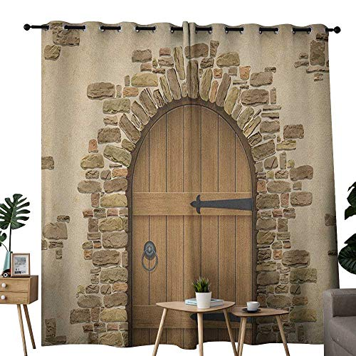 NUOMANAN Blackout Lined Curtains Rustic,Wine Cellar Entrance Stone Arch Ancient Architecture European Building, Sand Brown Pale Brown,Thermal Insulated,Grommet Curtain Panel Set of 2 54