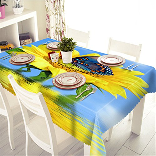 (LYsalaka 3D Tablecloth Merry Christmas Sunshine Sunflower Pattern Waterproof Cloth Thicken Rectangular And Round Wedding Table Cloth F 140 X 220Cm)