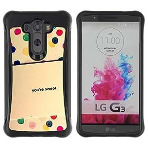 Híbridos estuche rígido plástico de protección con soporte para el LG G3 2014 Smart Phone - dot sweet quote love girlfriend gift