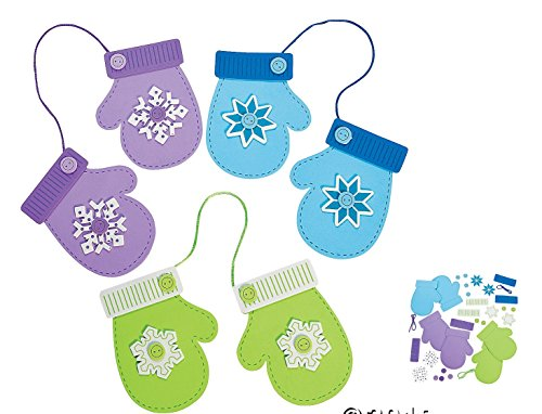 Fun Express Ornament Craft Kit, Winter Mittens With Snowflakes (Makes 12) -