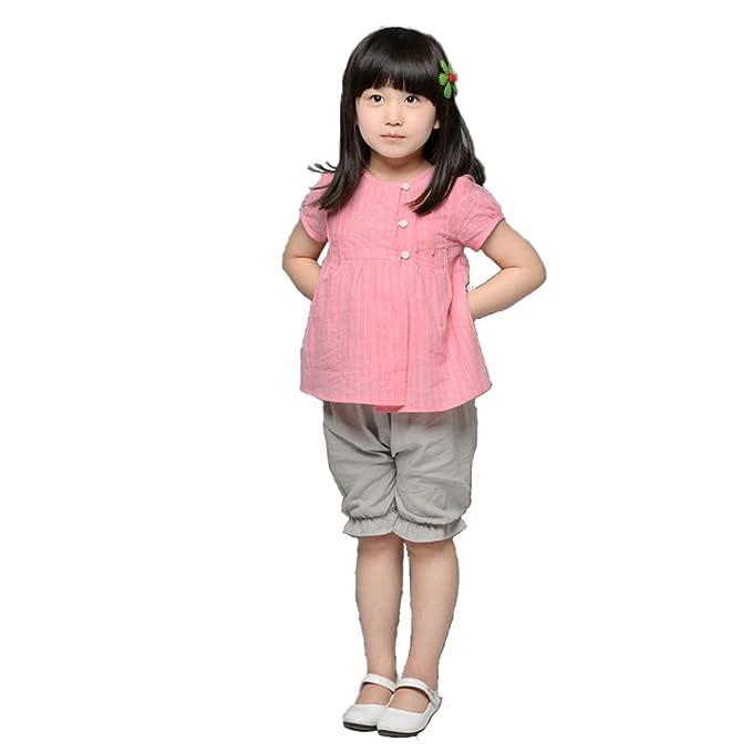 YUMU Niña Algodón Blusa Camisa de Manga Corta Diseño de Bordado Para Verano de Color Rosa
