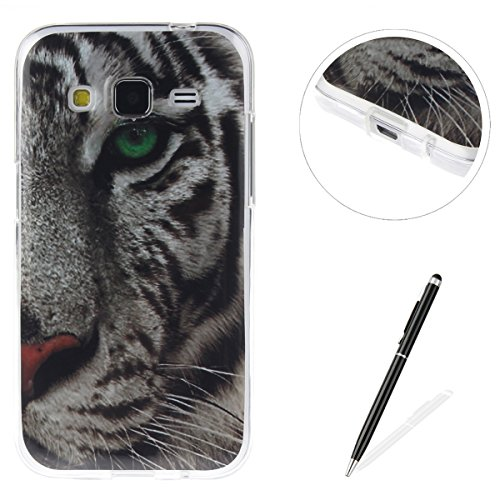 Samsung Galaxy G360 Funda,Ligero a Prueba de Choques Flexible Ultra Fino Suave TPU Parachoque Carcasa MAGQI Tecnología IMD Diseño Impreso Vendimia Serie Patrón [Absorción de Impacto] Resistente a los  Tigre Blanco