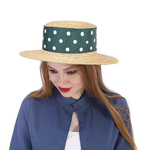 XJW-Sombreros, Straw Sun Hat, Mujeres con Green Ribbon Boater Sunhat Pork Pie Lady (Color : Natural, tamaño : 57-58cm)