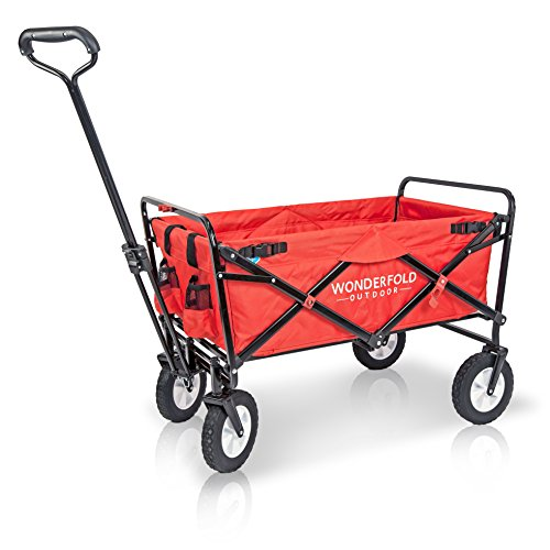 Wonder Fold Outdoor Next Generation Utility Folding Wagon with Removable Polyester Bag, Spring Bounce Feature, Auto Safety Locks, 180 Degree Steering Telescoping Handle Performance, Scarlet Red by WonderFold Outdoor