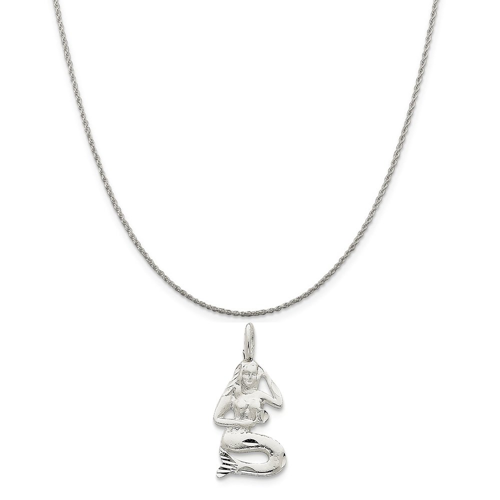 Sterling Silver Mermaid Charm on a Sterling Silver Chain Necklace 16-20