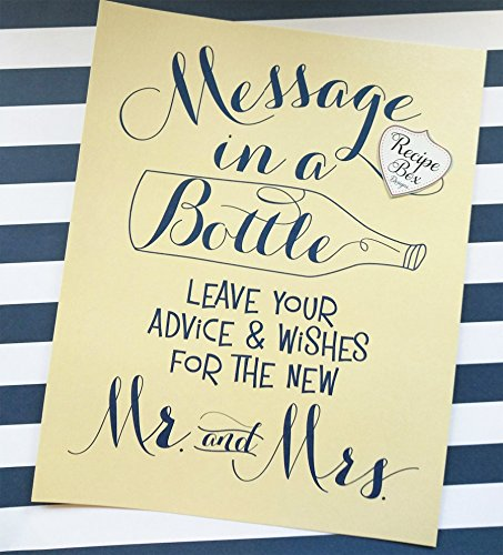 Message In A Bottle 8x10 Wedding Sign. Advice and Wish Sign Nautical Wedding Sign