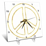 3dRose PS Inspiration - Gold Heart Hollow Peace Sign - 6x6 Desk Clock (dc_280753_1)