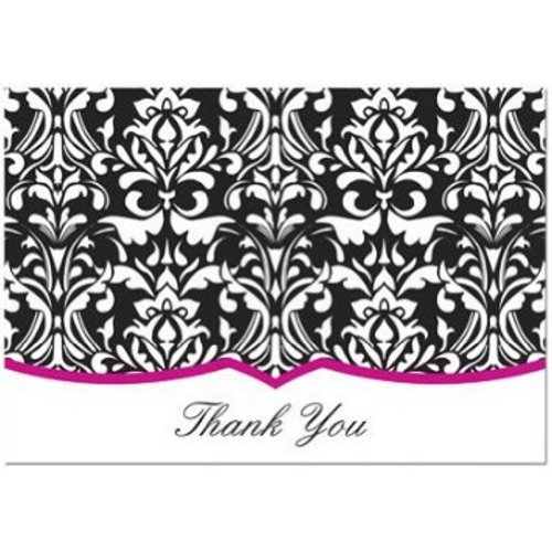 Classic Damask With Fuchsia Thank You Note Cards & Envelopes - ()