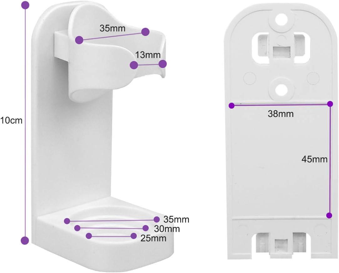 2PC AQOTER Portaspazzolino elettrico da parete bianco organizer staccabile per spazzolini da denti elettrico con base per il corpo ABS