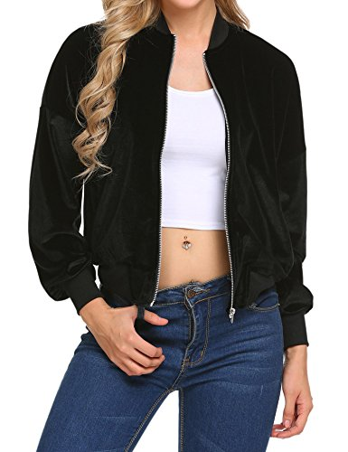 Dicesnow Women's Winter Long Sleeve Zip Up Casual Slim Short Velvet Bomber Jacket(Black,XXL) (Velvet Womens Clothing)