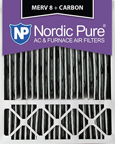 """Nordic Pure 20x25x5HPM8C-1 Honeywell Replacement Pleated MERV 8 Plus Carbon Filter (1 Pack), 20 x 25 x 5"""""""