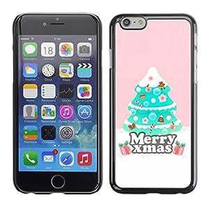 Cubierta de la caja de protección la piel dura para el Apple iPhone 6 (4.7) - Christmas tree pink winter