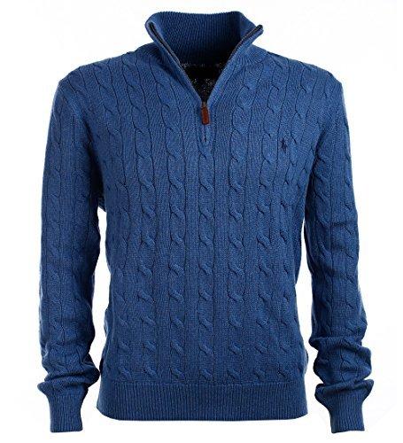 Polo Ralph Lauren Mens Mock Neck Cable Knit Sweater (L, Blue)