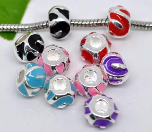 Calvas 10Pcs Mixed Silver Plated Enamel Spacer Beads Fit Charm Bracelet 12x8mm B06988