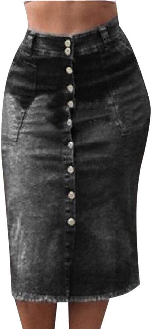 dahuo - Falda Larga de Jean Sexy para Mujer, Cintura Alta ...