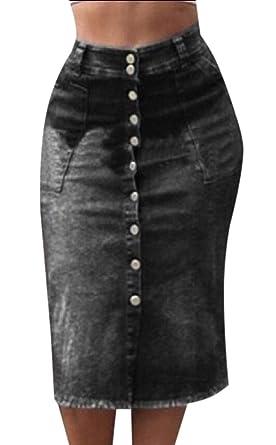 security Falda de Jean con Botones Frontales elásticos de Cintura ...
