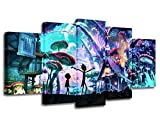 5 Panels Canvas Painting rick and morty poster Wall Art Painting Modern Home Decor Picture For Living Room (With wood frame, 40x60cmx2,40x80cmx2,40x100cmx1)