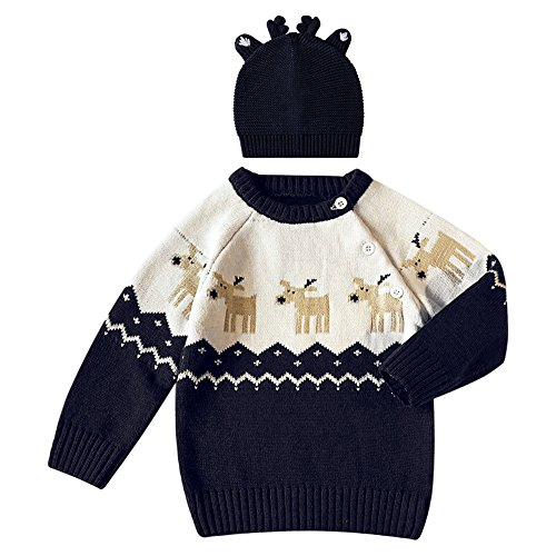 Good The Bad And The Ugly Costumes (Fashion Story Toddler Unisex Baby Newborn Baby Kids Xmas Sweater Deer Theme Christmas Infant Pullover 2-5 Ages With Hat)