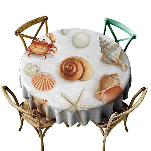 Zmlove Seashells Natural Tablecloth Marine Aquatic World Elements Seashells Pearls Crabs Muscles Wild Sea Life Image Machine Washable Tan Cream (Round - 67