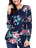 GOSOPIN Women Casual Floral Blouses Print Tee Shirt Long Sleeve Tunic Tops