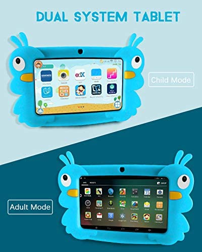 Kids Tablet, 7 Inch Android 9.0 GMS Tablet for Kids, 2GB+16GB Dual Camera Childrens Tablet with WiFi, Parental Control, Kid-Proof, Blue 51SzOhEN8dL